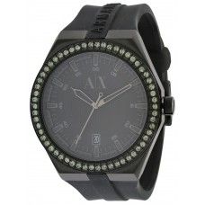 51e0d4c102b1 Armani Exchange Black Silicone Crystal Ladies Watch AX1217